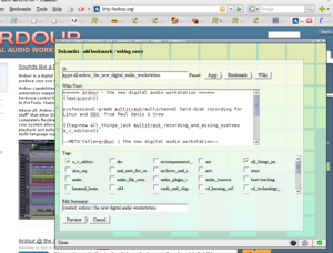 DokuWiki bookmarklet in action on http://apps.linuxaudio.org